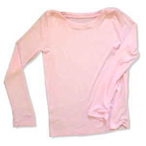 Pink Long Sleeve Boatneck Top with Rouching